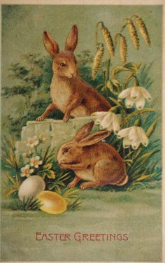 "Vintage postcard of bunnies with colored eggs and flowers, ""Easter Greetings"""