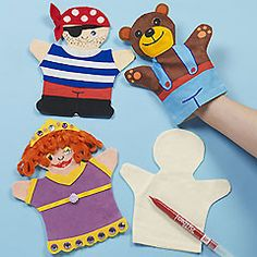 Children of all ages will love making their own characters from these fabric calico hand puppets. They can be painted and decorated and provide hours of fun.