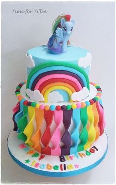 My Little Pony Rainbow cake by Time for Tiffin (girl cupcakes unicorn) Sweet Cakes, Cute Cakes, Fondant Cakes, Cupcake Cakes, Buttercream Cake, Bolo My Little Pony, Bolo Cake, Birthday Cake Girls, Rainbow Birthday