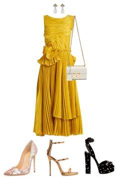 """Mustard Monday!!!"" by la-harrell-styling-co on Polyvore featuring Rochas, Giuseppe Zanotti and Gucci"