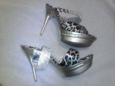 Womens Platform Sandals Rhinestone Animal Print Leopard Strap Heels Size 10