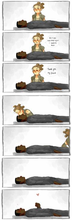 """Truth is Finn was never really """"asleep"""", and enjoyed the kiss Rey gave him a little TOO much~~ xD"""