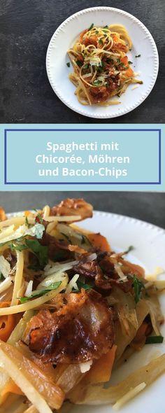 Chicorée, Karotten und Bacon: Eine mehr als leckere Kombination. Klick für das Rezept!  Nudeln, Speck, Pasta,