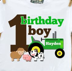 first 1st birthday boy green tractor / farm old mcdonald theme birthday party shirt - with or without farm animals. $16.50, via Etsy.