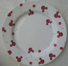 "Vintage ORIGINAL DISNEY  HIDDEN MICKEY MOUSE 11""  DINNER PLATE RED CHERRIES"