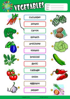 Vegetables ESL Matching Exercise Worksheet For Kids
