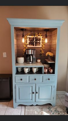 Repurposed armoire made into a coffee bar Refurbished Furniture, Cabinet Furniture, Repurposed Furniture, Furniture Makeover, Painted Furniture, Diy Furniture, Refurbished Cabinets, Coffee Nook, Coffee Bar Home