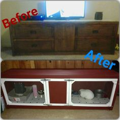 Up cycle dresser into dual rabbit hutch Bunny Cages, Rabbit Cages, Dwarf Bunnies, Bunny Rabbits, Indoor Rabbit Cage, Bunny Hutch, Small Animal Cage, Rabbit Hutches, Pet Cage