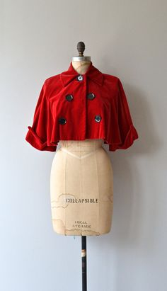 Red Velvet cropped bolero 1950s cropped jacket by DearGolden