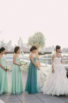 I like the maid in honor in the same dress as the bridesmaids but different shade to stand out.