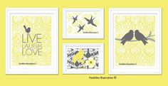 Children or Nursery Art Prints  Set of Four by Freshline on Etsy, $62.95