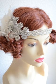 Couture HeadpiecePearl and Rhinestone by yanethandco on Etsy