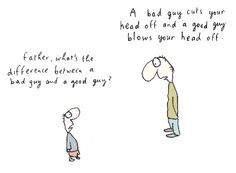 leunig on the line between good and bad.
