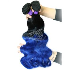 Black & Blue Ombre Hair Extensions Body Weave Hair