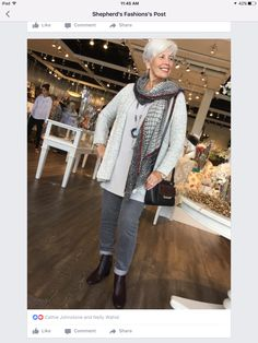 Casual and stylish go hand in hand with this look. Cardigan -Habitat, Yoga jeans, Moment By Moment scarf