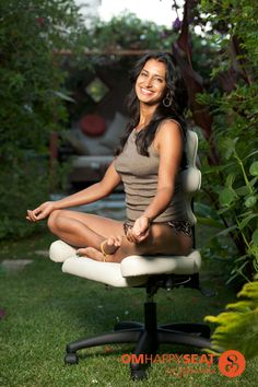 Yoga inspired chair. OmHappySeat allows you to sit cross-legged where you work, eat, meditate or create.
