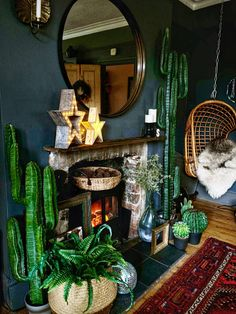 The Bohemian, Dark & Inviting Home of Nadia Martini - The Interior Editor Boho Room, Boho Living Room, Bohemian Living, Bohemian Decor, Dark Bohemian, Jungle Living Room Ideas, Dark Living Rooms, Living Room With Fireplace, Dark Bedrooms