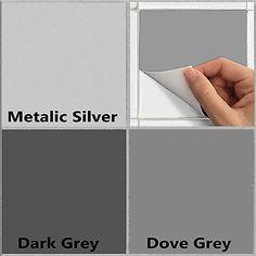 "6"" Tile Stickers Transfers Kitchen Bathroom Grey And Silver Self Adhesive TSA1"