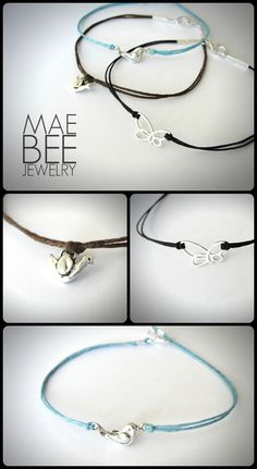 $22 each. #Birdies and #Butterflies...these Teeny Tiny #Bracelets just listed! www.jewelrybymaebee.etsy.com