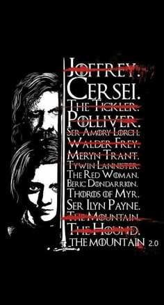 Game of Thrones - updated Arya&;s kill list Game of Thrones - updated Arya&;s kill list Game Gsme Of Thrones, Arte Game Of Thrones, Game Of Thrones Arya, Game Of Thrones Decor, Game Of Thrones Shirts, Frases Game Of Thrones, Arya Stark List, Ned Stark, High Fantasy
