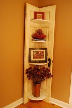 Shelf made out of an old door.  Love it!