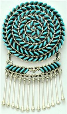Sleeping Beauty Turquoise Circles Hangers Pendant Pin Octavius & Irma Seowtewa, Zuni
