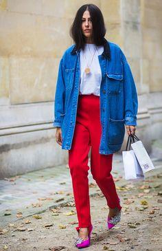Red tailored pants + white tee + longline denim jacket