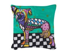 25% OFF- Chinese Crested Dog Art Pillow - - Modern Abstract Folk Art by Heather Galler