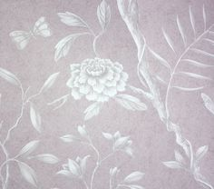 Jasper Peony Wallcovering A beautiful and tranquil climbing floral wide width wallpaper in cream on a dusky pink mottled background. 50per m