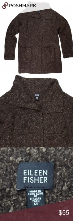 """EILEEN FISHER Brown Nubby Long Cardigan Sweater Excellent condition. This brown long nubby wool cardigan sweater from Eileen Fisher features hidden snap closures and front pockets. Made of 34% alpaca, 33% wool, 21% silk, 12% nylon. Measures: bust: 44"""", total length: 31"""", sleeves: 23"""" Eileen Fisher Sweaters Cardigans"""