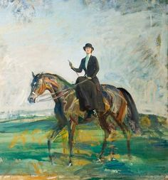 Alfred Munnings. Lady Munnings Riding a Bay Hunter.