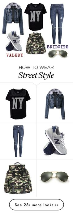 """""""Street Style"""" by bridgite on Polyvore featuring LE3NO, Aéropostale, H&M, New Balance, Wet Seal and Ray-Ban"""