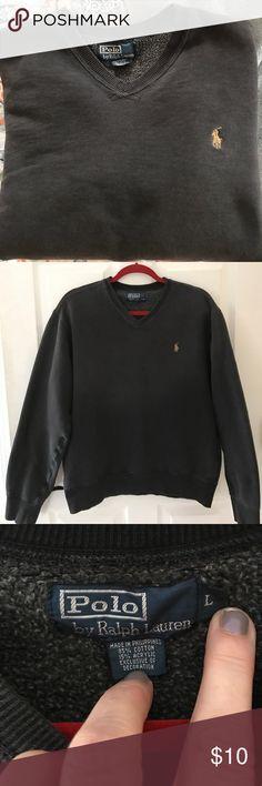 Women's  Polo by Ralph Lauren  vneck sweatshirt Preloved sweatshirt in charcoal grey color in great shape just two spots on inner sleeve cuffs otherwise very clean Polo by Ralph Lauren Tops Sweatshirts & Hoodies