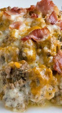 Bacon Cheeseburger Cauliflower Casserole- gluten free, low carb, keto
