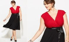 Dresses+for+Heavier+Women | Black and Red New Years Eve Dress for Fat Women