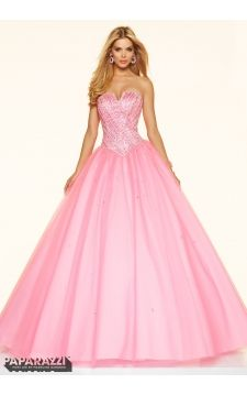Prom Dress 98109 Crystal and Sequin Beading on a Tulle Ball Gown
