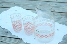 Vintage Anchor Hocking pink and white Juice Set, breast cancer fund