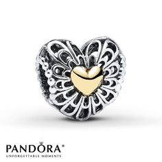 Pandora Charm Vintage Heart Sterling Silver/14K Gold