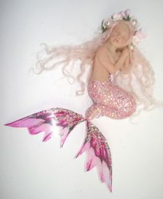 Polymer Clay Art Doll Sculpt - Kelsey | OOAK Fairy Pixie Sleeping Baby Mermaid Art Doll Polymer Clay Sculpt