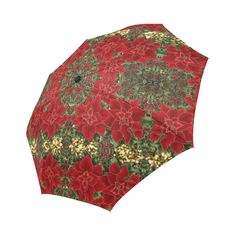 Poinsettia pattern in vibrant red, with green & gold accents. Red Gold, Green And Gold, Poinsettia, Umbrellas, Gold Accents, I Shop, Vibrant, Model, Pattern