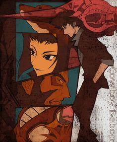 (Cowboy Bebop) Ein, Faye Valentine, Jet Black, Ed and Spike Spiegel Manga Anime, Me Anime, Girls Anime, Anime Love, Manga Art, Anime Art, Akira, See You Space Cowboy, Faye Valentine