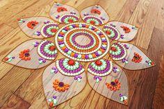 Rangoli Kundan art, Danmala Mandala, sunflower kundan rangoli,  - Jumbo Pan-  Orange, Purple,  Green, White