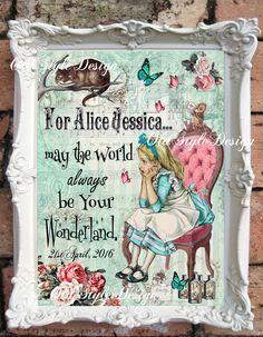 ALICE in Wonderland Wall ArtAlice in Wonderland Nursery Personalized Nursery Decor Alice in Wonderland Baby Shower New Born Gift Alice C:A60