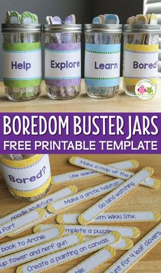 Make a set of boredom buster jars with the free editable template. Keep kids busy by providing them with lots of summer vacation activities and spring break activities ideas. Use the printable to make custom activity sticks and container labels.