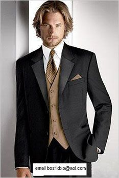 Black Tuxedo with Brown / Tan Vest and Tie