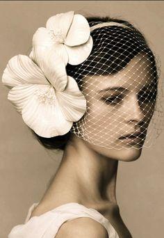 Bridal headpieces - a leather-poppy-vintage veil.
