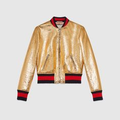 Crackle leather bomber jacket