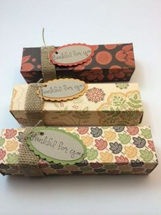 Stampin Up Envelope Punch Board boxes, fits a full size Snickers or Milky Way, great for teacher gifts, Thanksgiving treats, Thanksgiving boxes DIY Thanksgiving designed by demo Beth McCullough.  Please see more card and gift ideas at www.StampingMom.com #StampingMom