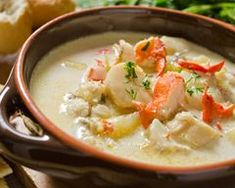 A seafood chowder recipe acked with goodness, a meal in itself. Seafood Chowder Recipe from Grandmothers Kitchen. Crock Pot Recipes, Cooking Recipes, Chowder Recipes, Seafood Recipes, Soup Recipes, Fruit Recipes, Diet Recipes, Chicken Recipes, Chicken Chowder