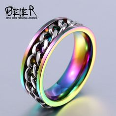 BEIER New Plated Gold/Black Man's Cool Spin Chain Ring For Man Stainless Steel Cool Man Woman Fashion Jewelry BR-R065